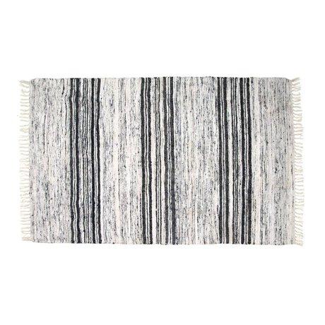 HK-living Tæppe genbrugt silke sort 120x180cm hvid