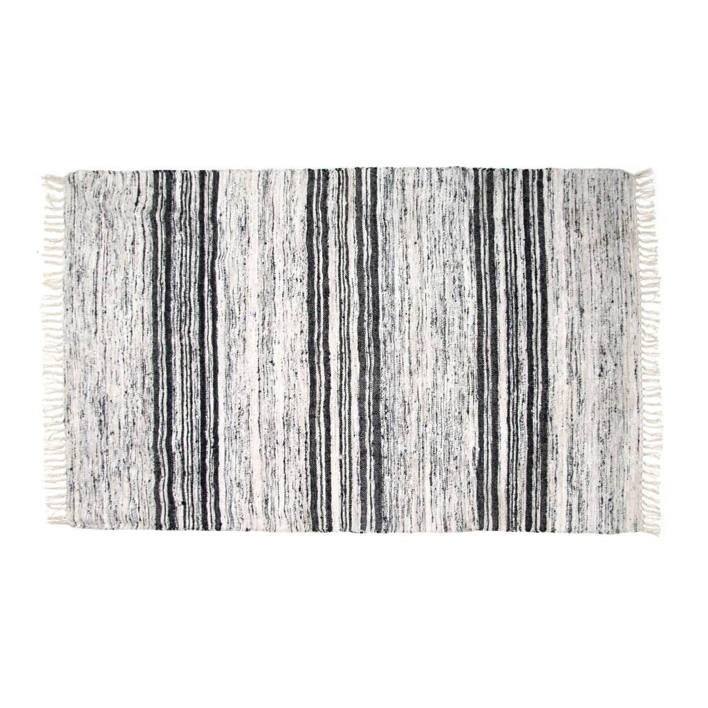HKliving Teppich Seide recycelt schwarz weiß 120x180cm