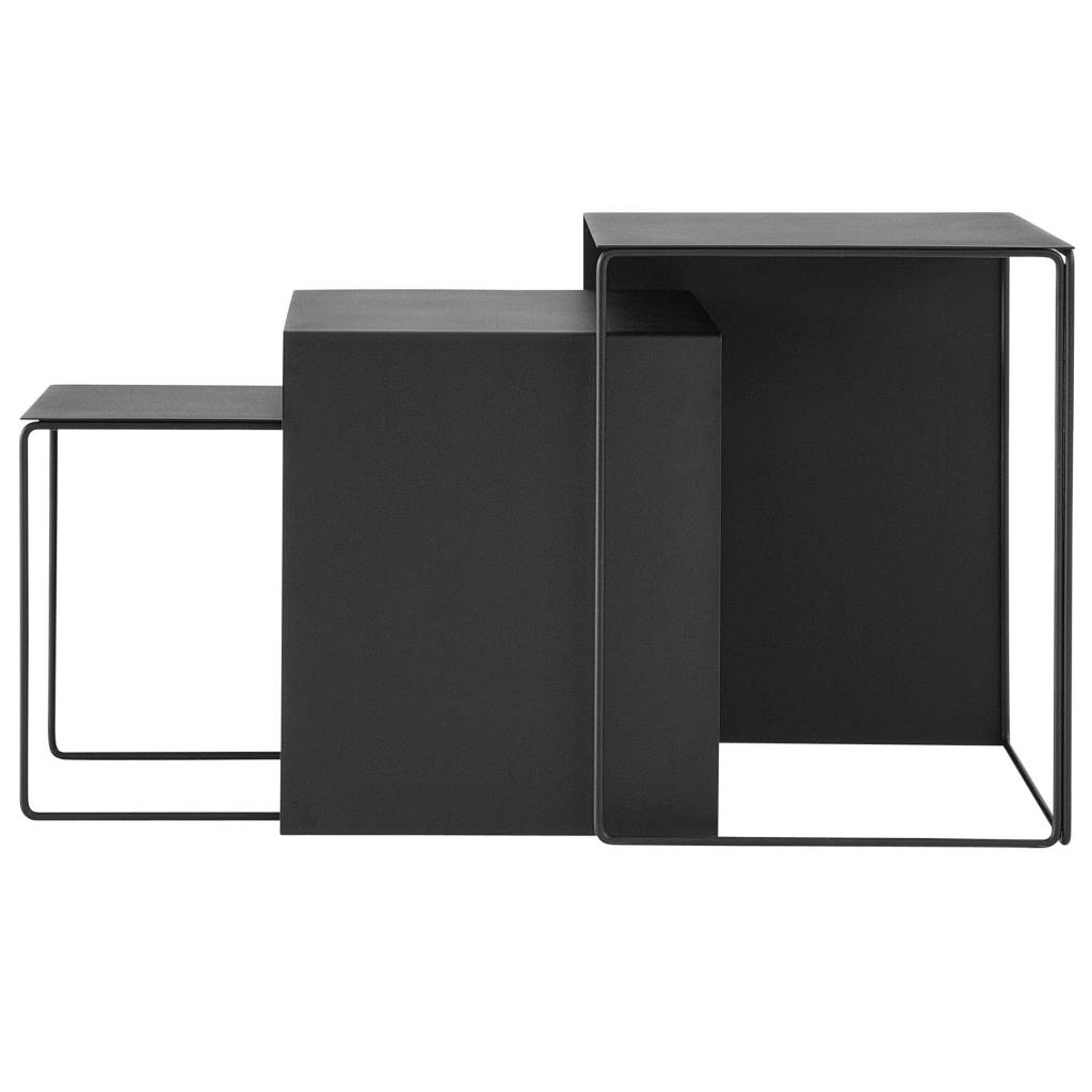 ferm living couchtisch satz von drei schwarz metall. Black Bedroom Furniture Sets. Home Design Ideas