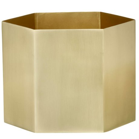 Ferm Living Pot Hexagon Brass Gold Ø18x16cm- extralarge
