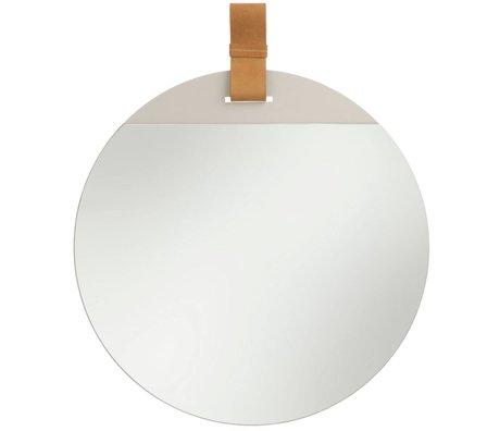 Ferm Living Indtast spejl med læderrem stor 45x52cm