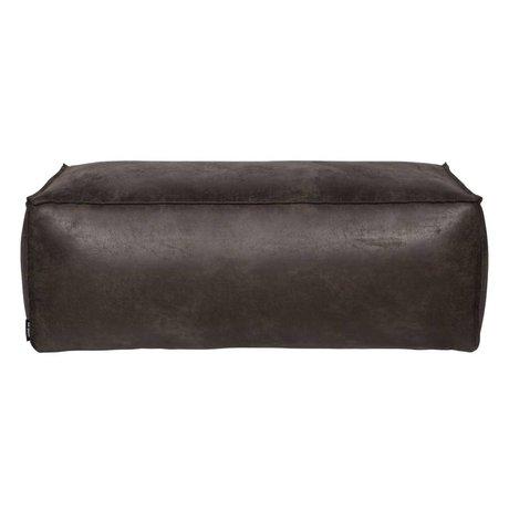 BePureHome Pouf Rodeo 120x60x43cm en cuir noir