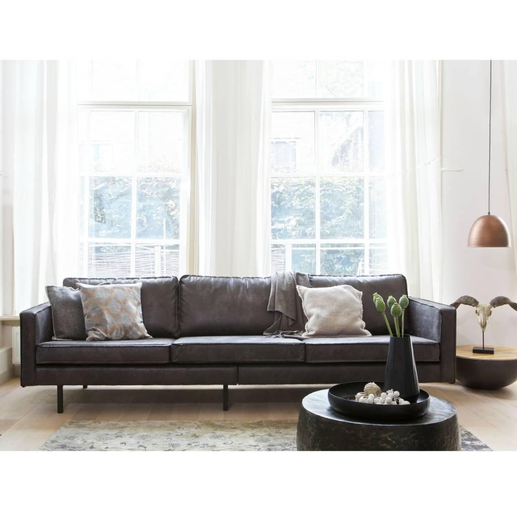 canap 3 places en cuir noir rodeo 274x87x78cm. Black Bedroom Furniture Sets. Home Design Ideas