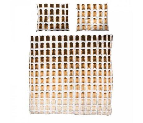 Snurk Beddengoed Linen sengetæppe toast bomuld 260x200x220cm herunder 2x pudebetræk 60x70cm