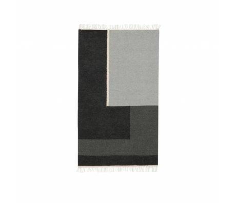Ferm Living Alfombra Kelim sección gris pequeña 80x140cm