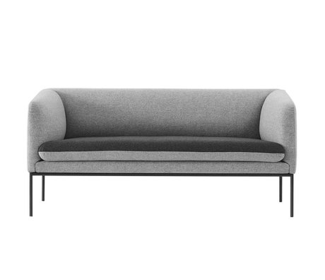 Ferm Living Couch curva 2 posti grigio Wole 160x71x73cm
