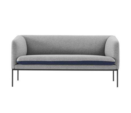 Ferm Living Couch curva 2 posti grigio 160x71x73cm cotone blu