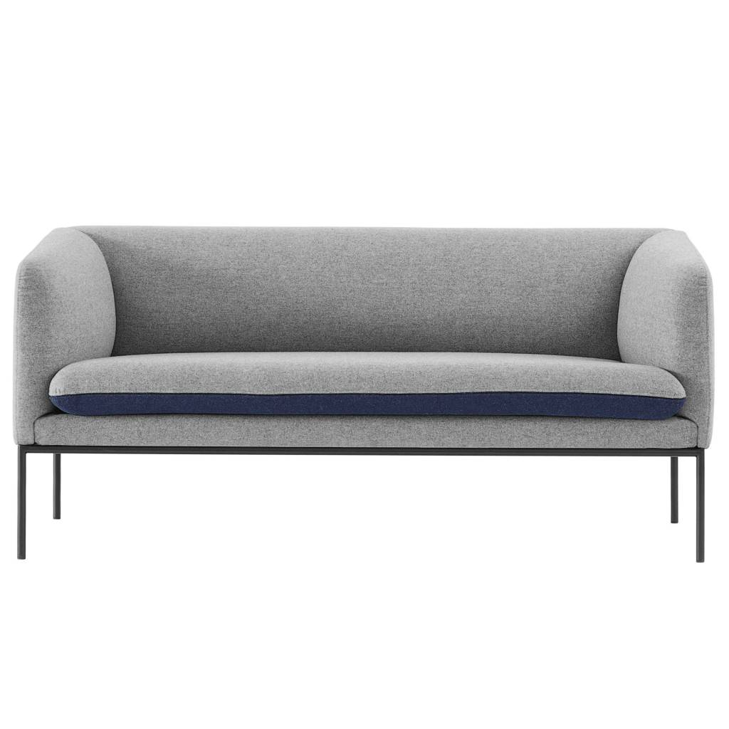 ferm living couch turn 2 sitzer grau blau baumwolle 160x71x73cm. Black Bedroom Furniture Sets. Home Design Ideas