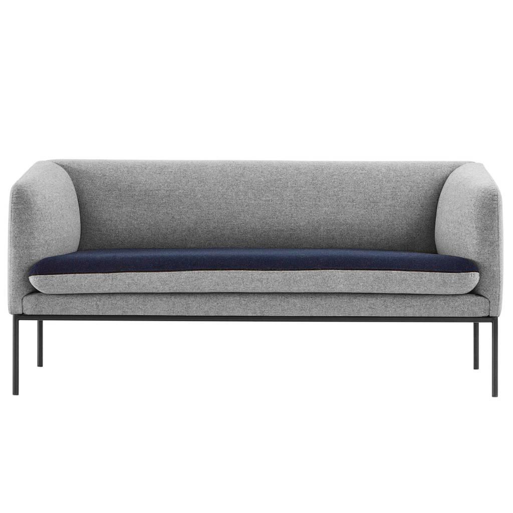 Ferm Living Sofá de la curva 2 plazas de algodón gris azul ...