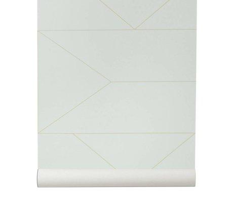 Ferm Living Las líneas rotas wallpaper 10x0,53m blanco