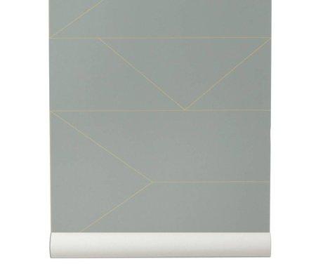 Ferm Living Tapet Lines grå 10x0,53m