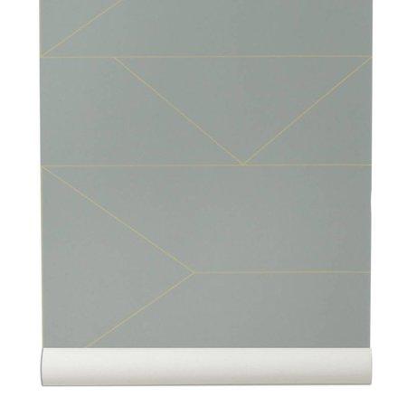 Ferm Living Líneas de papel pintado gris 10x0,53m