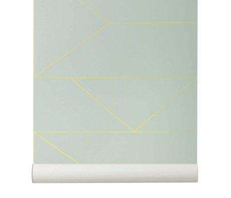 Ferm Living Linee Wallpaper 10x0,53m mintgrün