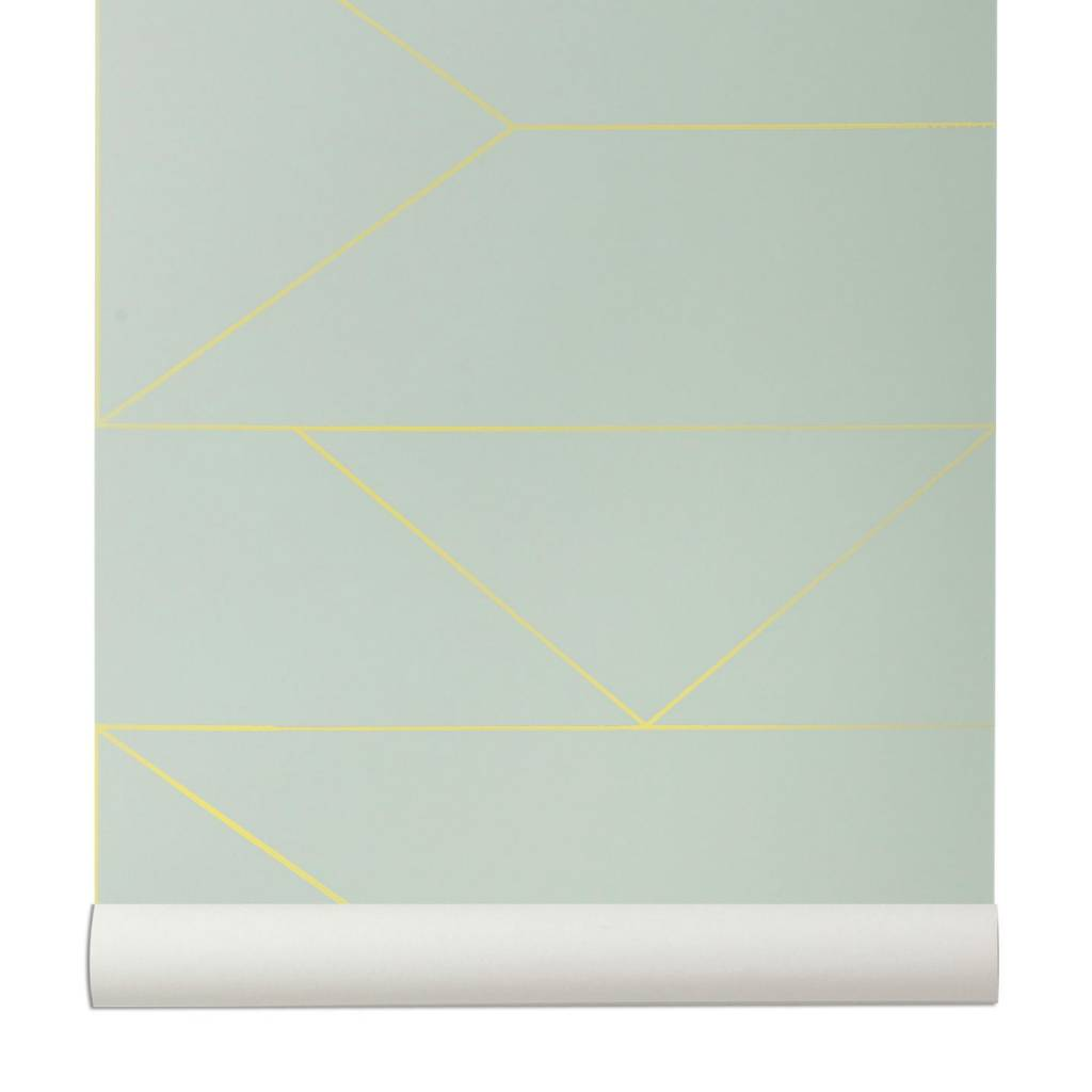 ferm living wallpaper lines mintgrün xm  leflivingcom - update your wall with this elegant wallpaper from ferm living this mintgreen wallpaper has a pattern of gold lines the lines wallpaper canwithout subtly