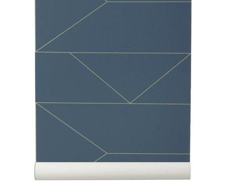 Ferm Living Duvar kağıdı Hatları lacivert 10x0,53m