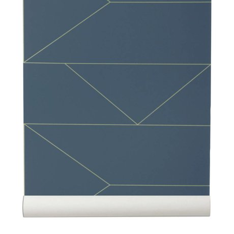 Ferm Living 10x0,53m blu scuro Linee Wallpaper