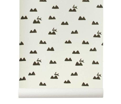 Ferm Living Fondo de pantalla de conejo roto 10x0,53m blanco y negro
