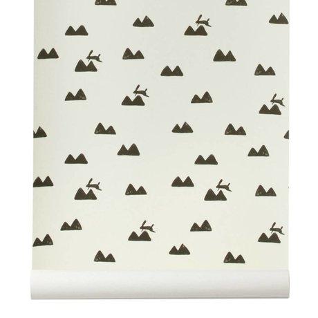 Ferm Living Fond d'écran Lapin cassé de 10x0,53m blanc et noir