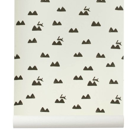Ferm Living Wallpaper Rabbit broken white and black 10x0,53m