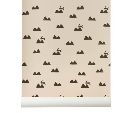 Ferm Living Wallpaper Rabbit roza black 10x0,53m