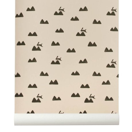 Ferm Living Duvar kağıdı Tavşan roza siyah 10x0,53m