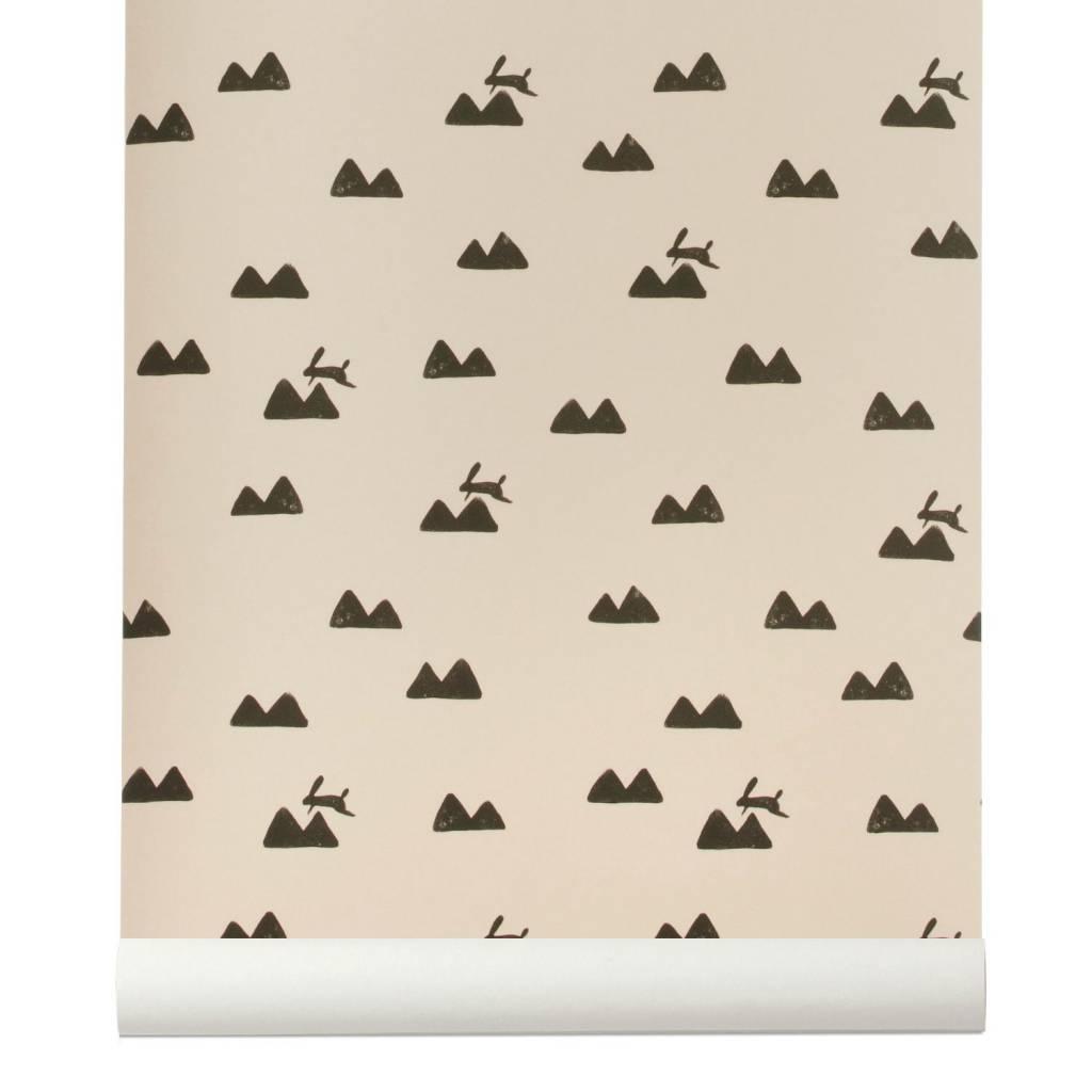 ferm living tapete rabbit roza schwarz 10x0 53m. Black Bedroom Furniture Sets. Home Design Ideas