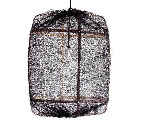Ay Illuminate Hanging bambou de la lampe avec couvercle noir en sisal ø67x100cm
