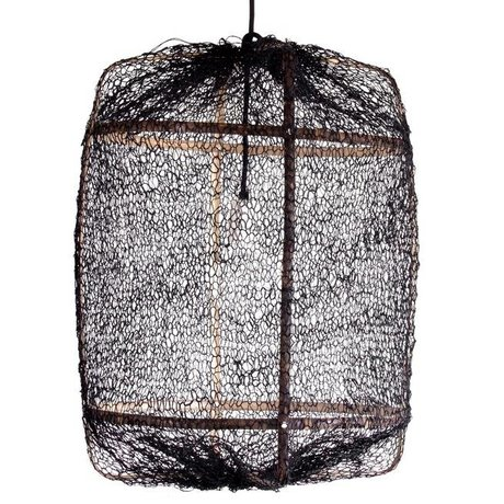 Ay Illuminate Colgando de bambú de la lámpara con cubierta de color negro hecho de sisal ø67x100cm