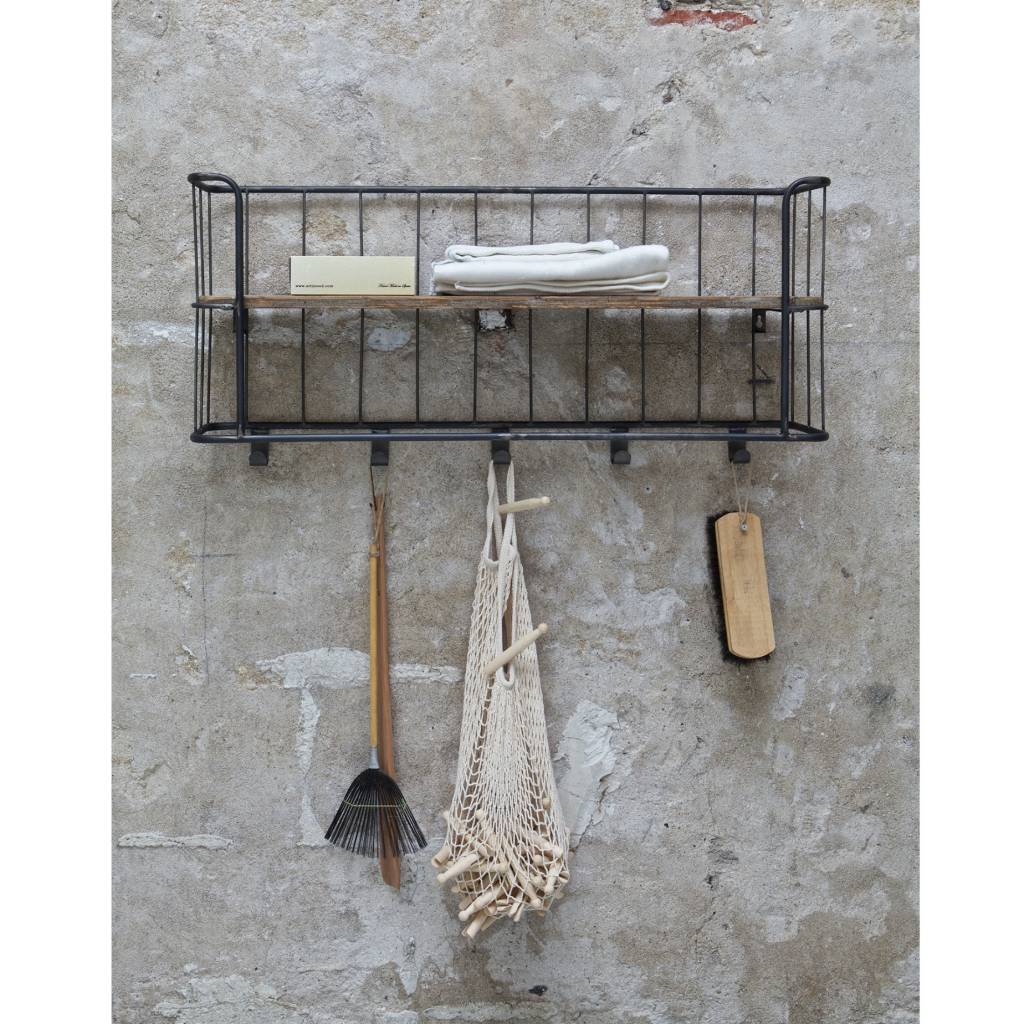 bepurehome garderobe giro grau braun metall holz 40x85x20cm. Black Bedroom Furniture Sets. Home Design Ideas