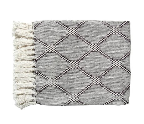 HK-living Couverture Vivante diamant plaid 125x50cm noir et blanc