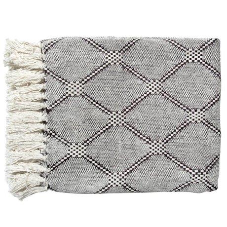 HK-living Living Blanket diamond plaid black and white 125x50cm