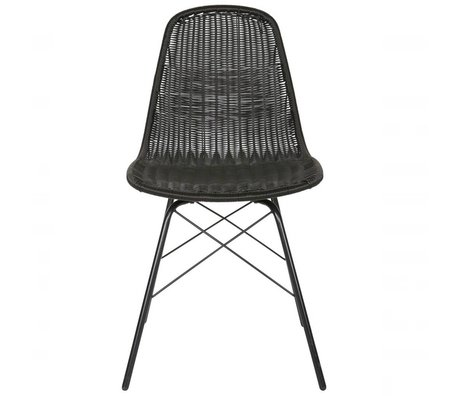 BePureHome Silla Poliéster Spun 84,5x52,5x45,5cm de metal negro