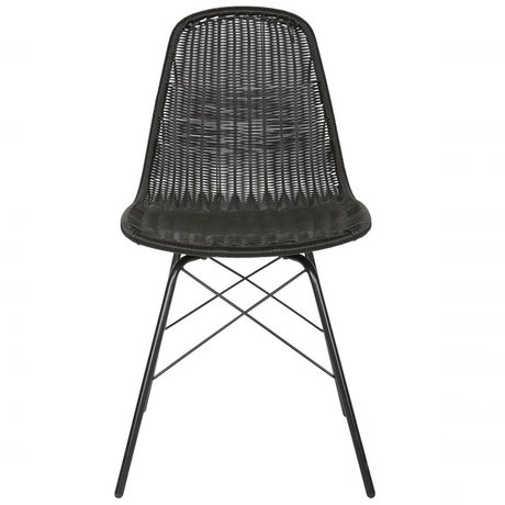 BePureHome Chair Spun Polyester black metal 84,5x52,5x45,5cm