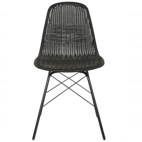 BePureHome Stol Spun Polyester black metal 84,5x52,5x45,5cm