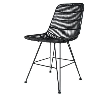 HK-living Dining chair made of metal / rattan, black, 80x44x57cm