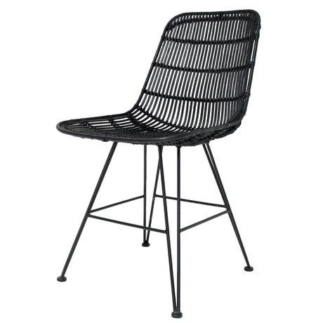 HK-living Cena de la silla de metal / rattan, negro, 80x44x57cm
