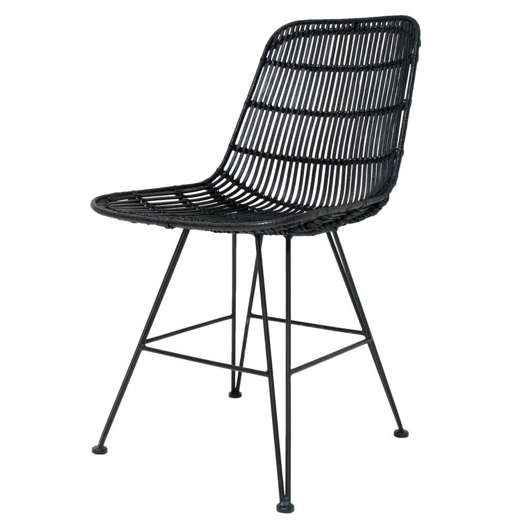HK-living Cena de la silla de metal / rattan, negro, 80x44x57cm ...
