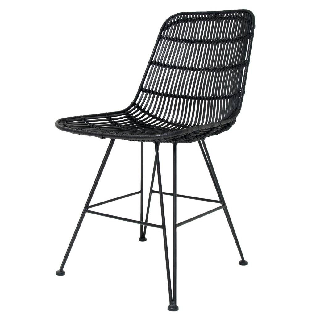 hk living dining chair made of metal rattan black 80x44x57cm. Black Bedroom Furniture Sets. Home Design Ideas