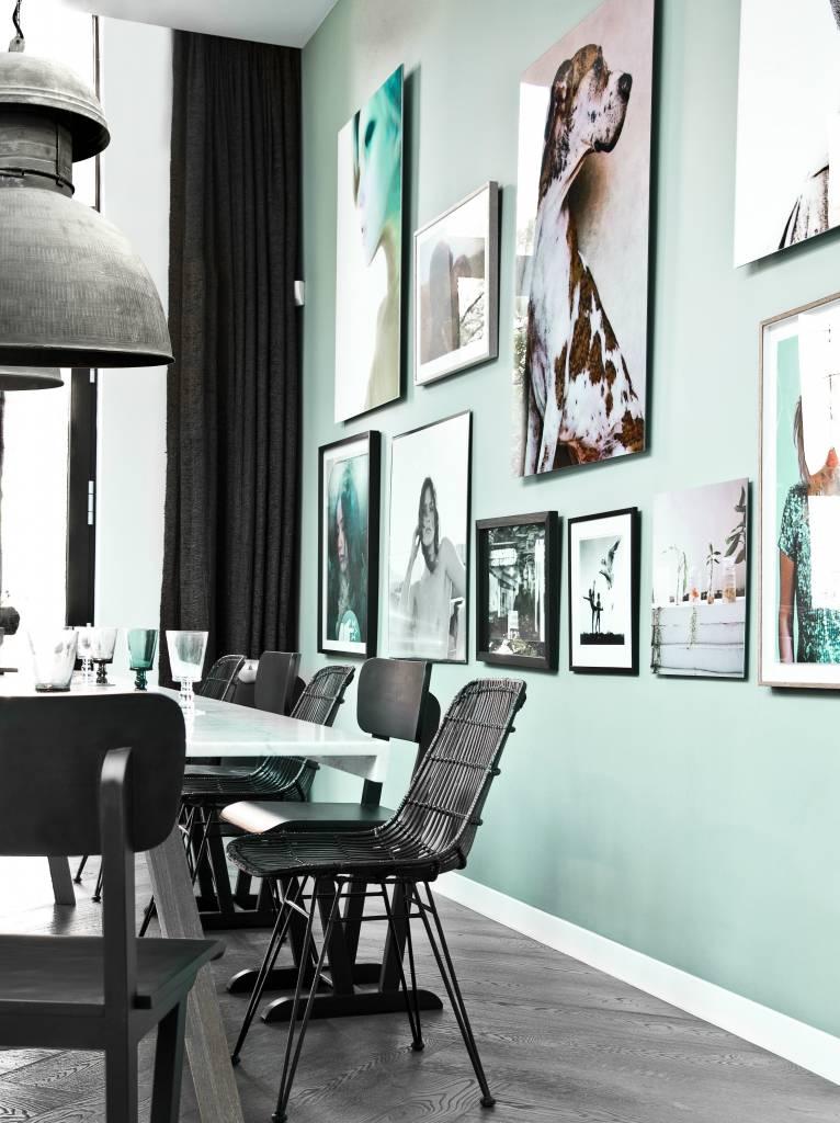 HK-living Salle à manger chaise fil 47x54x86cm de métal blanc ...