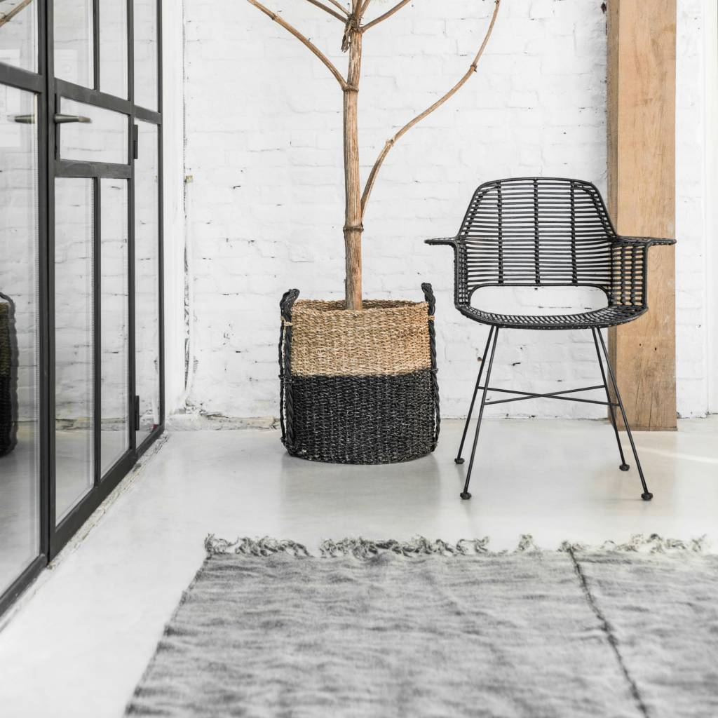HK-living Wire chair with armrests black metal 72x56x86cm ...