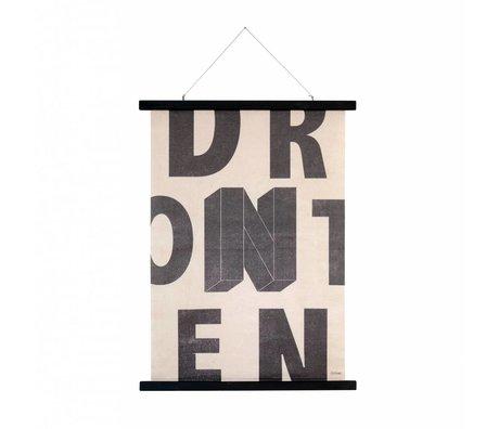 HK-living Schulwandbild mit Schriftzug Baumwolle Holz 55x75x2,5cm
