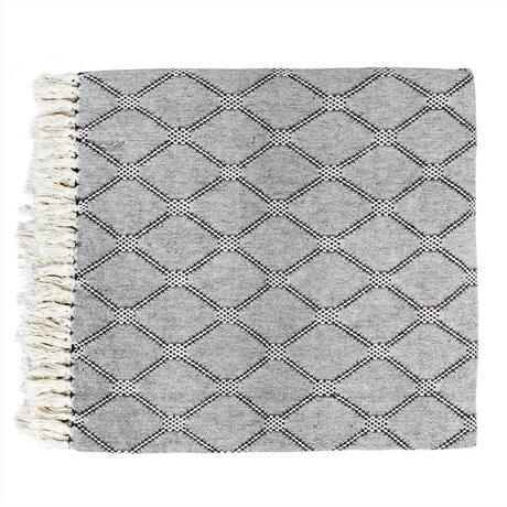 HK-living Tejido a cuadros de algodón negro 240x260cm