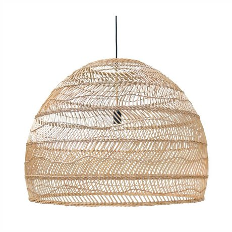 HK-living Hanging lamp handwoven beige Ried 80x80x60cm