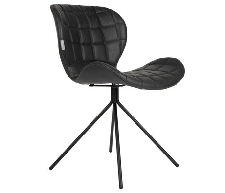 Zuiver silla de comedor OMG LL 51x56x80cm imitación cuero negro