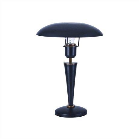 Housedoctor Tischlampe Opal in schwarz aus Messing und Metall 34cm