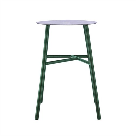 Housedoctor Stool Stool K-green steel leather 48x35x35cm
