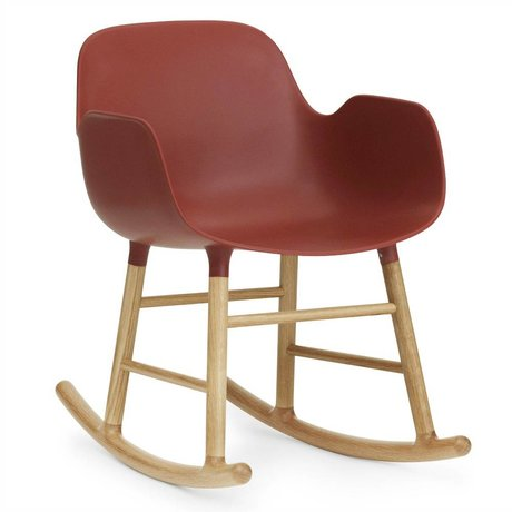 Normann Copenhagen Rocking chair with armrests shaped red plastic oak wood 73x56x65cm
