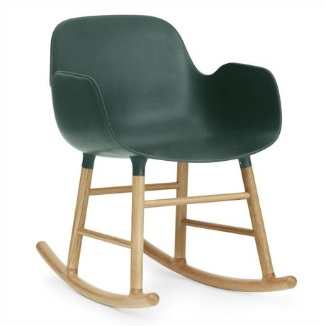 Normann Copenhagen Rocking chair with armrests form green plastic oak wood 73x56x65cm