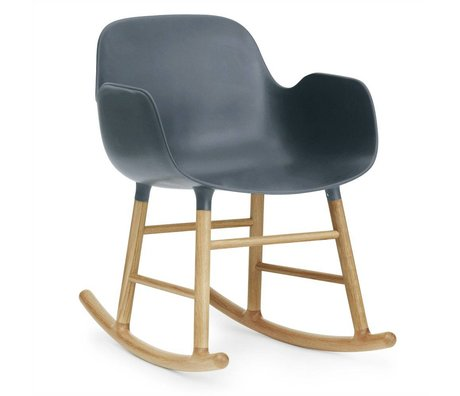 Normann Copenhagen Rocking chair with armrests shape blue plastic oak wood 73x56x65cm