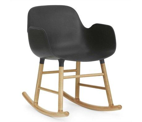 Normann Copenhagen Schaukelstuhl mit Armlehnen Form schwarz Kunststoff Eichen Holz 73x56x65cm